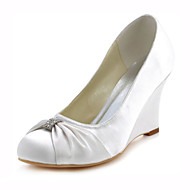 Women's Shoes Stretch Satin Spring / Fall Heels Heels Wedding / Party & Evening / Dress Wedge Heel Crystal Blue / Ivory