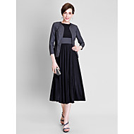A-line Mother of the Bride Dress - Tea-length 3/4 Length Sleeve Polyester / Jersey