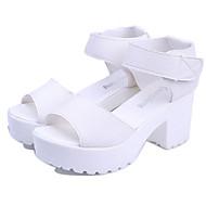 Women's Shoes Chunky Heel Creepers/Comfort Peep Toe Sandals Casual Black/White