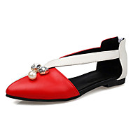 Women's Shoes Flat Heel Pointed Toe Crystal Pearl Color Contrast Zip Flat More Color Available