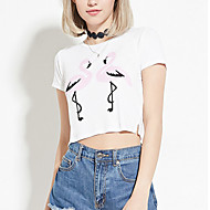 Mulheres Blusa Happy-Hour Sensual / Moda de RuaEstampado Branco Poliéster Decote Redondo Manga Curta Fina