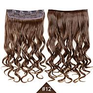 """klippet i syntetisk hår extensions 24 """"120g silkeaktig fiber hår # 12 brun krøllete parykk bølget ingen Shedding"""
