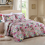 100% Cotton Floral And Bird 3 pieces Quilted Bedspread set , King Size