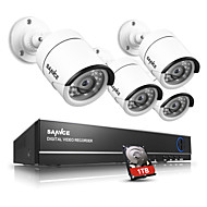 sannce® 4ch AHD 4pcs DVR 720p ir לחתוך מערכת טלוויזיה במעגל סגור ערכות מעקב אבטחה בבית מצלמת טלוויזיה במעגל סגור חיצונית מקורה מובנה 1TB