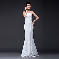 Trumpet / Mermaid Wedding Dress Floor-length Strapless Lace / Tulle with Lace
