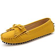 Feminino-Rasos-Mocassim-Rasteiro-Azul / Amarelo-Napa Leather-Casual / Para Esporte