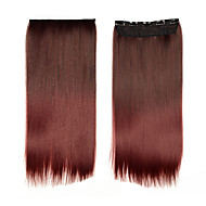 Sythetic Hair Extensions 1pcs Only Clip On Hair Extensions Women Hair Full Head Ombre Hair 11og/pcs #BURG Long Straight