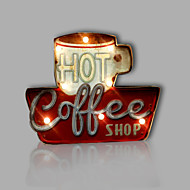 E-HOME® Metal Wall Art LED Wall Decor, HOT COFFEE LED Wall Decor One PCS