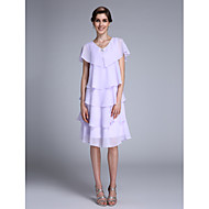 Sheath / Column Mother of the Bride Dress Knee-length Sleeveless Chiffon with Crystal Detailing / Ruffles