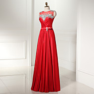 Formal Evening Dress A-line Scoop Floor-length Tulle / Jersey with Beading / Sash / Ribbon