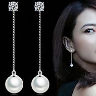 Imitert Perle Mote Bedårende Perle Legering Sirkelformet Sølv Smykker Til Fest Daglig 1 par