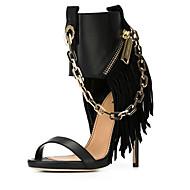 Sandály-Koženka-Podpatky-Dámská obuv-Černá-Svatba / Kancelář / Party-Vysoký