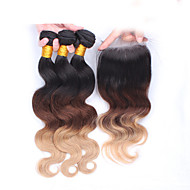 "10""-30"" Ombre Hair Eurasian Virgin Hair Body Wave With Lace Closure Human Hair Weft  Natural Black Baby Hair"