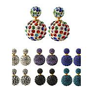 Multicolor Fashion Luxury Full Crystal Ball Multicolored Pearl Color Magnitude Earrings
