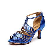 Non Customizable Women's Dance Shoes Suede Suede Latin / Salsa Sandals Flared Heel Professional / Indoor Blue