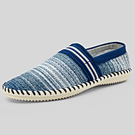 Men's Loafers & Slip-Ons Spring Summer Fall Comfort Espadrilles Linen Casual Flat Heel Beige Brown Blue Walking