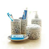 Ceramic  Lotion Bottle/ Soap Dishes/ Toothbrush Cup  5 pcs/set   Fujihana