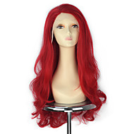 Women Long Wavy Lace Front Wig Red Color Synthetic Fashion Party Wigs