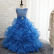 Ball Gown Floor-length Flower Girl Dress - Tulle Sleeveless Halter with Beading
