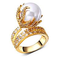 Karikagyűrűk Kocka cirkónia Gyöngy Gyöngy Gyöngyutánzat Cirkonium Kocka cirkónia Réz Platina bevonat Arannyal bevont Flower ShapeDivat