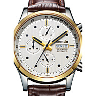 Semdu® Fashion Leather Water Resistant Calendar Moon Phase Stopwatch Noctilucent Business Men Wristwatch