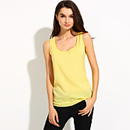 Women's Casual/Daily Simple Spring / Summer Tanks,Solid Round Neck Short SleeveBlue / Pink / Red / White / Beige / Black / Green / Orange