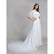 Lanting Bride® A-Linie Hochzeitskleid Hof Schleppe Bateau - Linie Spitze mit Spitze