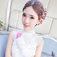 Women's Pearl / Tulle / Net Headpiece-Wedding Birdcage Veils 1 Piece White Round