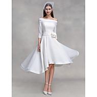 Lanting Bride® A-line Wedding Dress Asymmetrical Off-the-shoulder Chiffon / Satin with Button / Flower