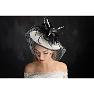 Women's Lace / Feather / Tulle / Flax / Net Headpiece-Special Occasion Fascinators 1 Piece Clear Irregular 22