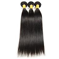 Echthaar Indisches Haar Menschenhaar spinnt Glatt Haarverlängerungen 3 Stück Schwarz