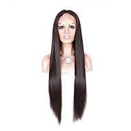 26 אינץ '7 א תחרת פאות שיער אדם מול לנשים שחורות חלק טבעי פאה ברזילאית אדם שיער פאת תחרה בצבע שחור טבעי