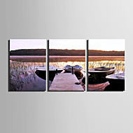 E-HOME® Stretched Canvas Art On The Lake Decoration Painting  Set Of 3