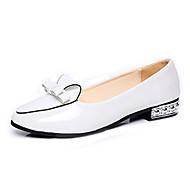 Черный Красный Белый-Женский-Для офиса Повседневный-Лакированная кожа-На низком каблуке Каблук с хрустальной отделкой-Удобная обувь