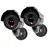 KingNEO® 301S Outdoor Solar Power Dummy Security Camera Simulated Surveillance Camera with Flash LED 2pc Black