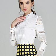 Vår Enfärgad Långärmad Ledigt/vardag Skjorta,Plusstorlek / Streetchic Kvinnors Tröjkrage Polyester Tunn Vit
