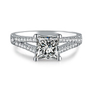1CT SONA Diamond Princess Cut 6*6mm Engagement Ring Solitaire with Accents Sterling Silver Brand Jewelry Women 925