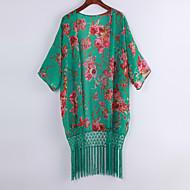 Women Bikini Cover Up Floral Print Tassels Chiffon Semi-sheer Bathing Suit Loose Long Swimwear Summer Beach