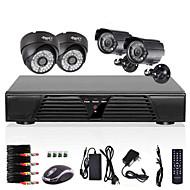מערכת המצלמה חזון 800tvl זיהוי תנועת DVR D1 המלא CCTV 4CH החיצונית מקורה הלילה
