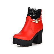 Women's Shoes PU Fall/Winter Heels/Round Toe Boots Office & Career/Casual Chunky Heel Stitching  Black/Red