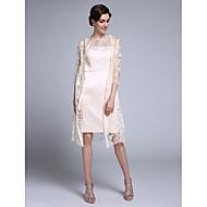 Lanting Bride® Tubinho Vestido Para Mãe dos Noivos Até os Joelhos Manga 3/4 Chiffon / Renda - Renda