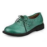 Women's Flats Spring / Summer / Fall Flats Cowhide Casual Flat Heel Stitching Lace Khaki / Dark Green / Light Green