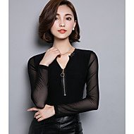 Women's Going out Simple Spring / Fall T-shirt,Solid V Neck Long Sleeve Black Acrylic / Spandex Medium