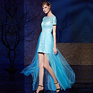 Cocktail Party / Formal Evening Dress Sheath / Column Jewel Floor-length Lace / Tulle with Sash / Ribbon