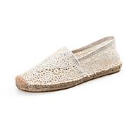 נשים-נעליים ללא שרוכים-תחרה-בד-שחור / אדום / לבן-קז'ואל-עקב שטוח