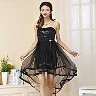 Cocktail Party Dress A-line Strapless Asymmetrical Tulle / Polyester with Sash / Ribbon / Sequins