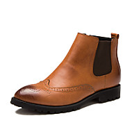 Men's Oxfords Spring / Fall Pointed Toe / Flats Leather Party & Evening / Casual Platform Others / Zipper Black