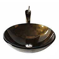 Antiquado T12*Φ420*H145MM Redondo material dissipador é Vidro TemperadoPia de Banheiro / Torneira de Banheiro / Anél de Instalação de