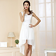 Cocktail Party Dress Sheath / Column Jewel Asymmetrical Chiffon / Polyester with Lace