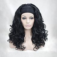 neue Art und Weise 3/4 Perücke mit schwarzen Stirnband welligen langen synthetischen halbe Perücken der Frauen